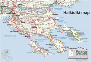 map of halkidiki and ouranoupolis for halkidki weather